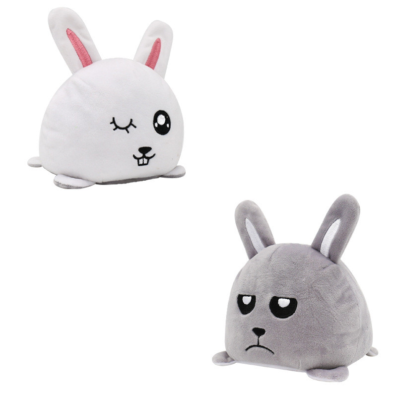 The Original Reversible Rabbit Double Faced Expression Patented Design Soft Stuffed Plush Animal Doll Toy
