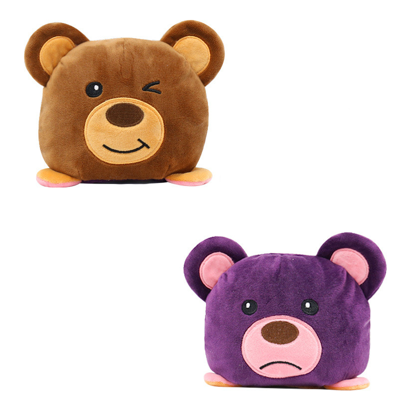 The Original Reversible Bear Double Faced Expression Patented Design Soft Stuffed Plush Animal Doll Toy