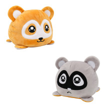 The Original Reversible Raccoon Double Faced Expression Patented Design Soft Stuffed Plush Animal Doll Toy