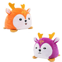 The Original Reversible Sika Deer Double Faced Expression Patented Design Soft Stuffed Plush Animal Doll Toy