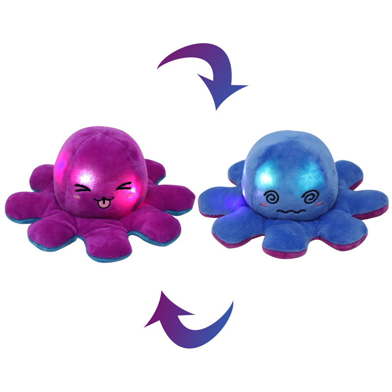 The Original Reversible Charged Light Octopus Plushie Soft Stuffed Plush Animal Doll for Kids Gift