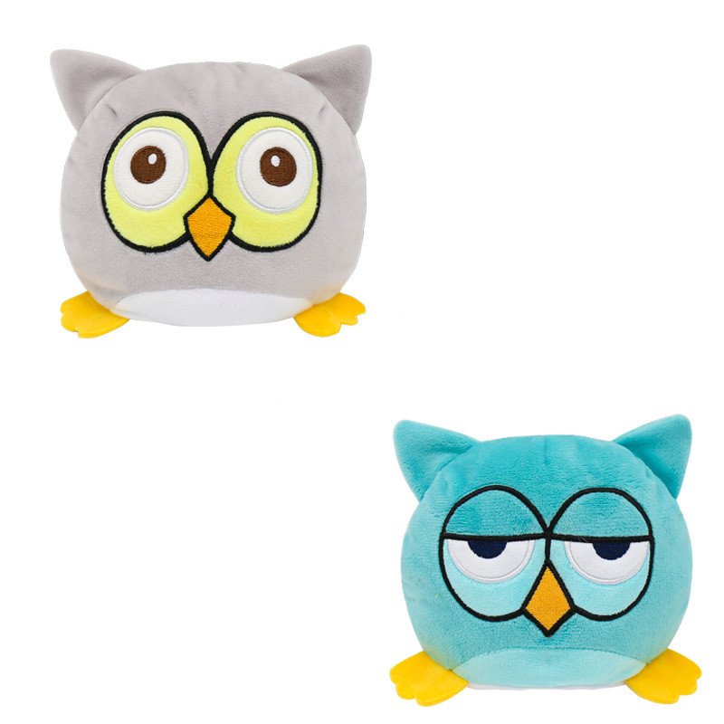 The Original Reversible Owl Double Faced Expression Patented Design Soft Stuffed Plush Animal Doll
