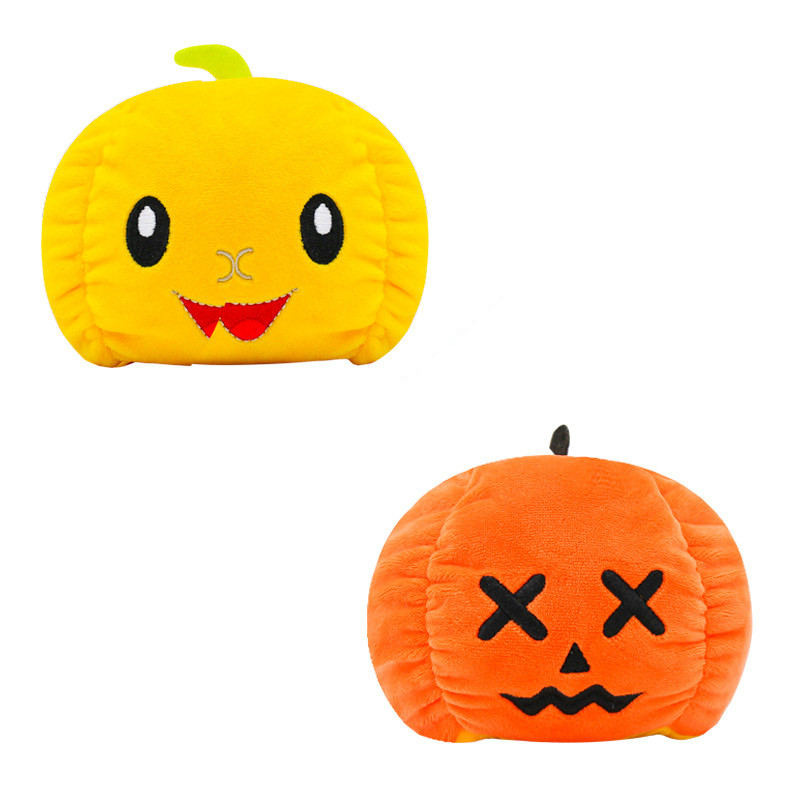 The Original Reversible Pumpkin Double Faced Expression Patented Design Soft Stuffed Plush Animal Doll Toy