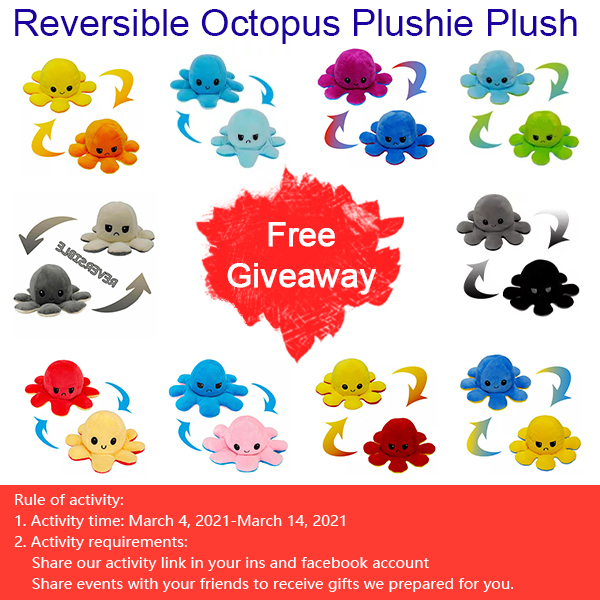 Free Giveaway The Original Reversible Octopus Plushie Plush Animal Doll Toy