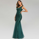 Women Sequins Mesh Bodycon Mermaid Maxi Party Gown Dress