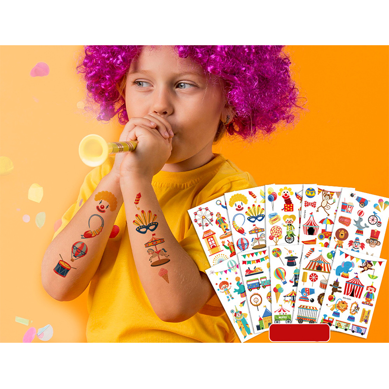 10 Sheets Amusement Park Birthday Party Supplies Art Temporary Tattoos for Kids