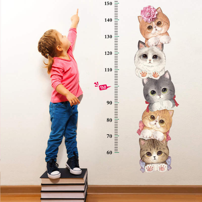 Animal Cats Height Stickers Children's Room Kindergarten Classroom Layout Decorative Wall Stickers