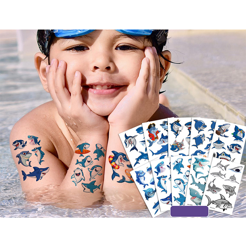 10 Sheets Animal Shark Party Supplies Art Temporary Tattoos for Kids