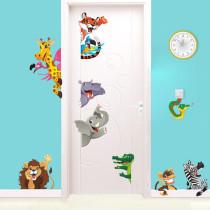 Animal Lion Giraffe Door Room Waterproof Decorative Wall Stickers