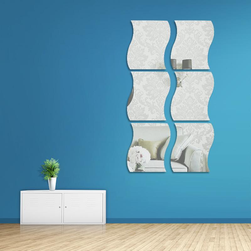 6PCS Geometry Wavy-Shaped Door Room Acrylic Decorative Mirror Wall Stickers