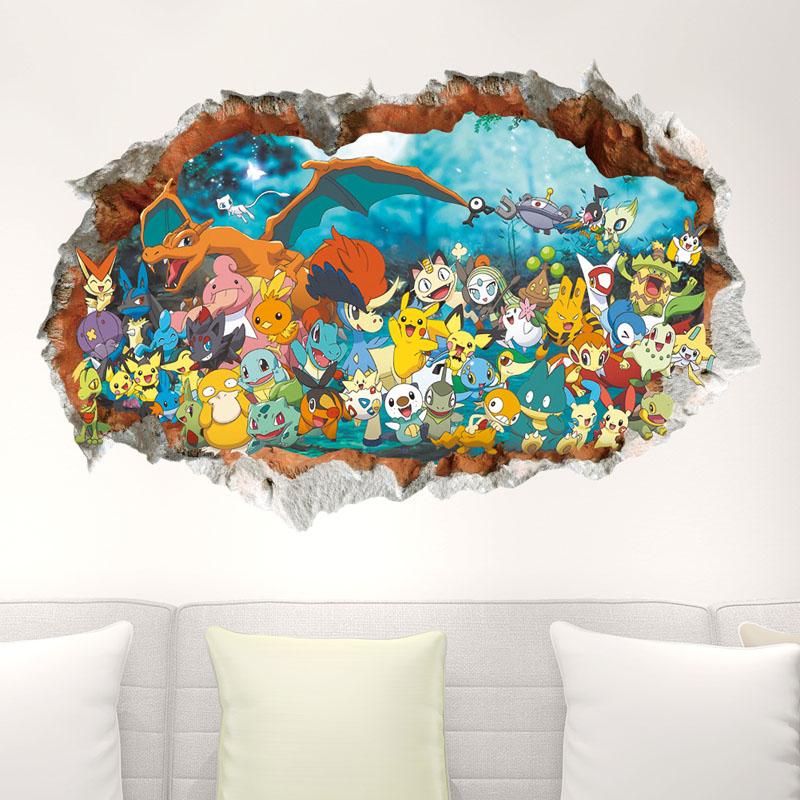 3D Pokemon Door Room Waterproof Decorative Wall Stickers
