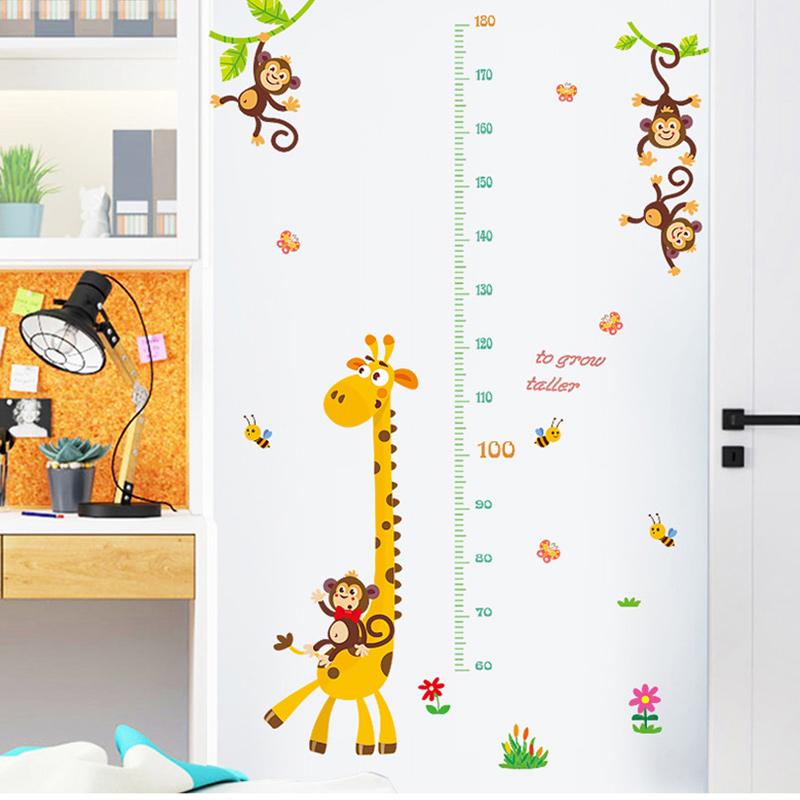 Animal Giraffe Height Stickers Children's Room Kindergarten Classroom Layout Decorative Wall Stickers
