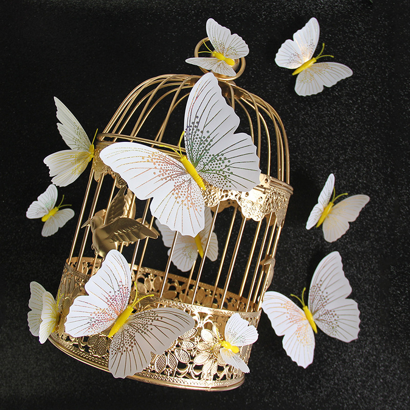 12PCS Double-Deck Ambilight Butterfly Wall Stickers Door Room Magnetic Decorative