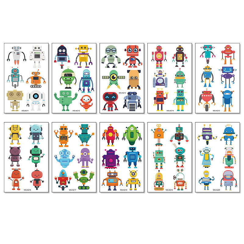 10 Sheets Robots Rockets Vehicles Party Supplies Art Temporary Tattoos for Kids