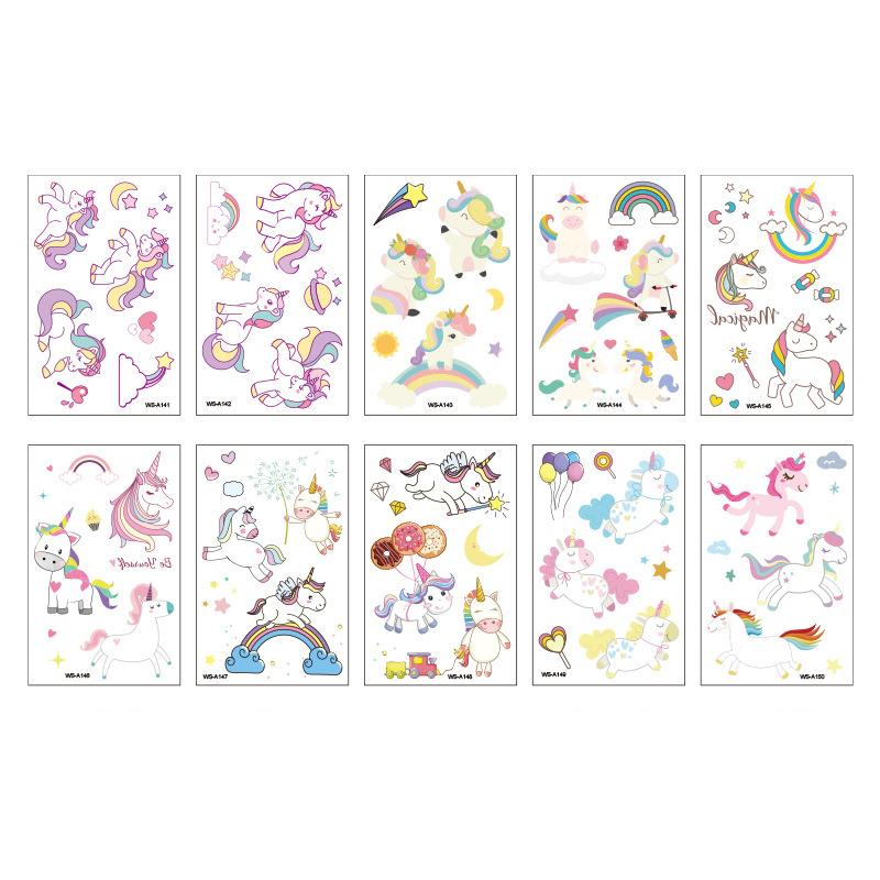10 Sheets Unicorns Mermaids Butterflies Flamingos Party Supplies Art Temporary Tattoos for Kids Girl
