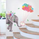 Animal Elephant Giraffe Lion Balloons Door Stickers Children's Room Kindergarten Classroom Waterproof Decorative Wall Stickers