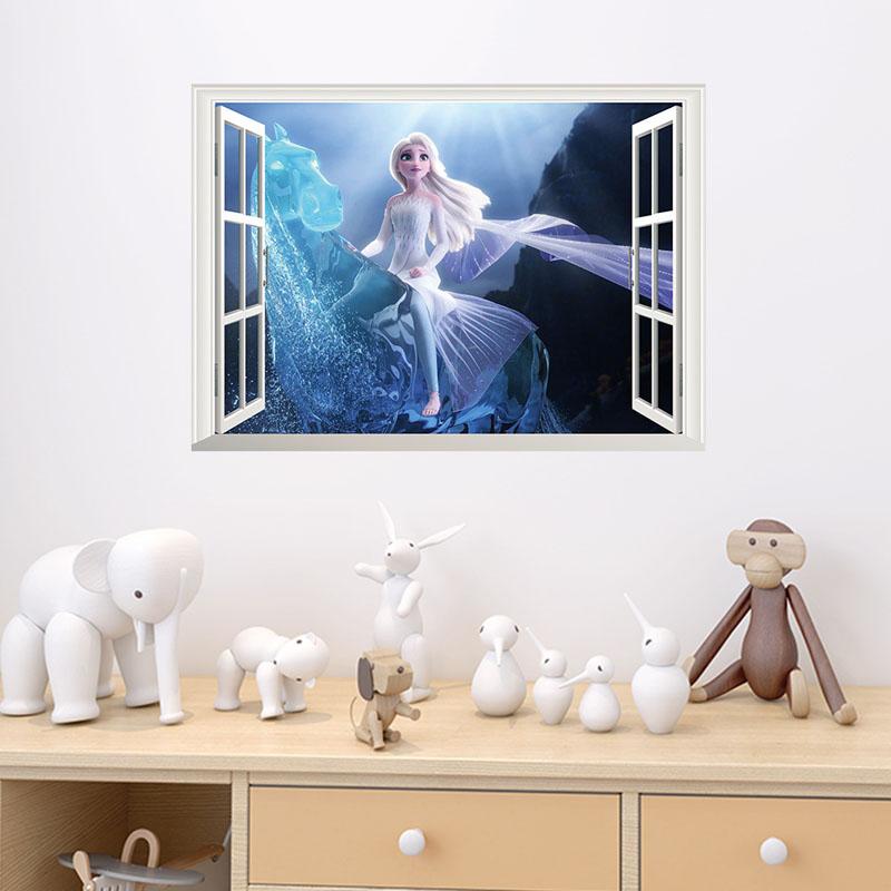 Disney Frozen Elsa Princess Door Room Waterproof Decorative Wall Stickers