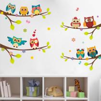 2 Sheets Owl Door Room Waterproof Decorative Wall Stickers