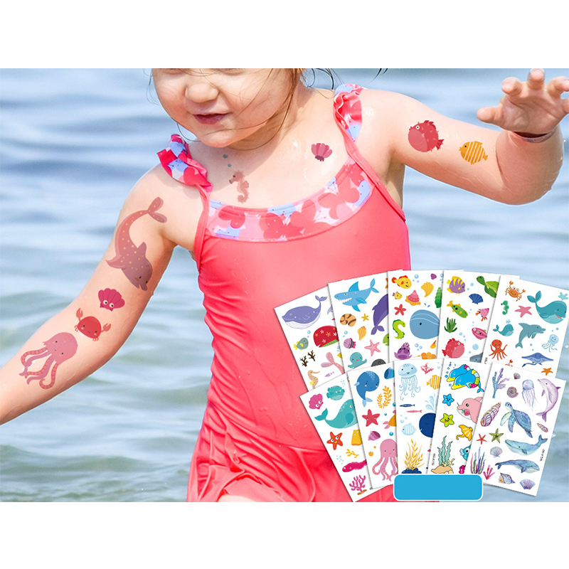 10 Sheets Marine Animals Party Supplies Art Temporary Tattoos for Kids