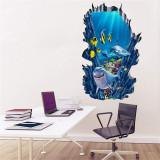 3D Undersea World Shark Door Room Waterproof Decorative Wall Stickers