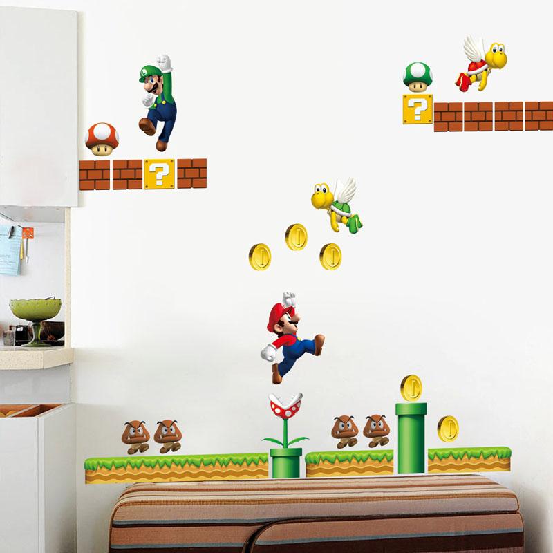 2 Sheets Super Mario Door Room Waterproof Decorative Wall Stickers