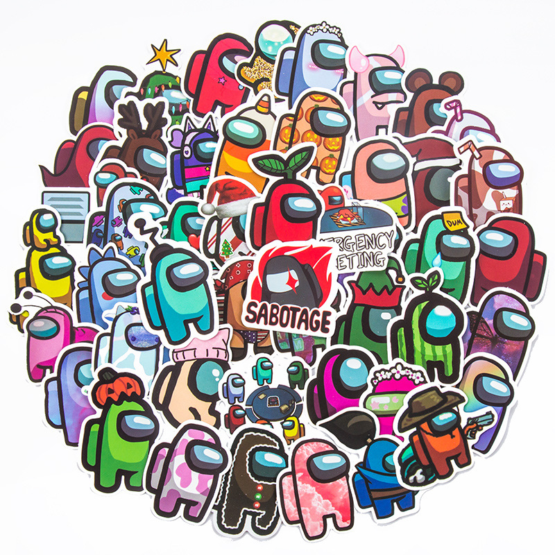 50PCS Among Us Waterproof Stickers Decals for Luggage Laptop Water Bottles