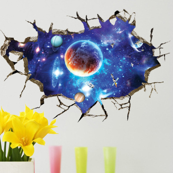 Universe Outer Space Door Room Waterproof Decorative Wall Stickers