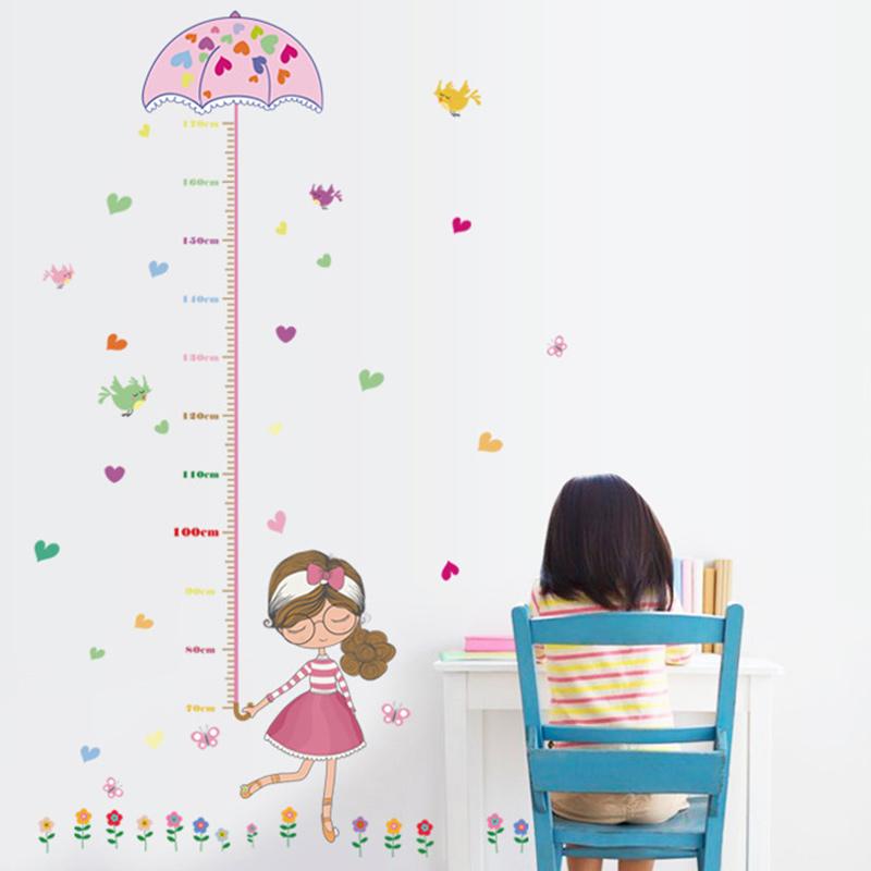 Animal Little Girl Hearts Flowers Height Stickers Children's Room Kindergarten Classroom Layout Decorative Wall Stickers
