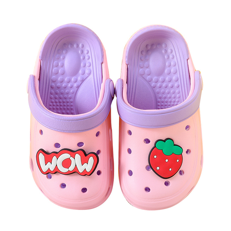 Toddlers Kids Fruits Strawberry Avocado Orange Pineapple Hole Shoes Flat Beach Summer Slippers