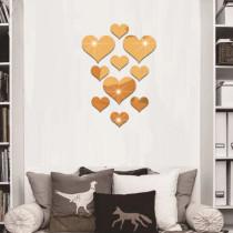 10PCS Geometry Heart-Shaped Door Room Acrylic Decorative Mirror Wall Stickers
