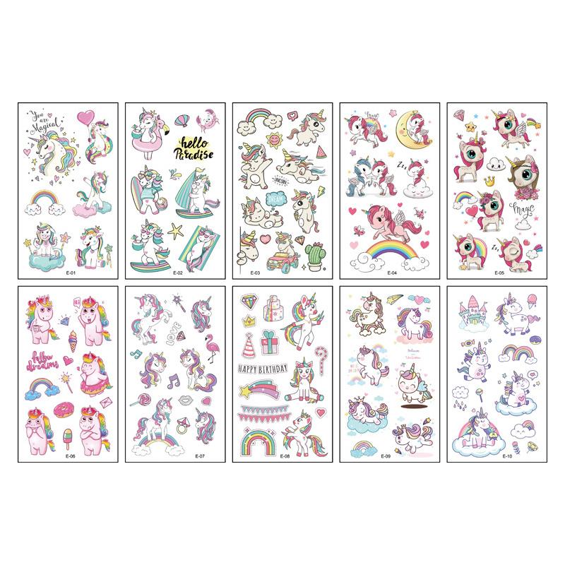 10 Sheets Unicorn Mermaid Birthday Party Supplies Art Temporary Tattoos for Kids Girl
