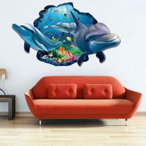 3D Undersea World Dolphin Door Room Waterproof Decorative Wall Stickers