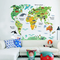 Animals World Map Door Room Waterproof Decorative Wall Stickers