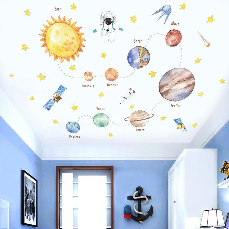 Watercolour Planet Universe Door Room Waterproof Decorative Wall Stickers