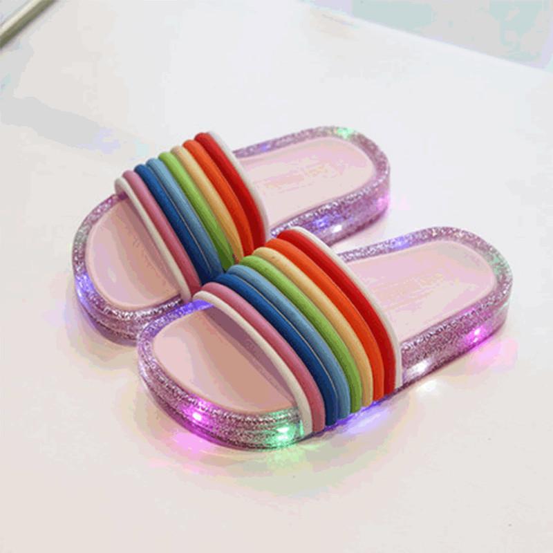 Toddlers Kids Shining Light Rainbow Stripe Flat Beach Summer Slippers