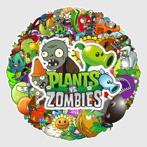 60PCS Plants vs Zombies Waterproof Stickers Decals for Luggage Laptop Water Bottles