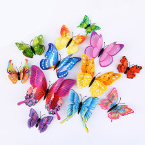 12PCS Double-Deck Simulation Butterfly Wall Stickers Door Room Magnetic Decorative