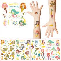 10 Sheets Gilding Dinosaurs Mermaid Party Supplies Art Temporary Tattoos for Kids