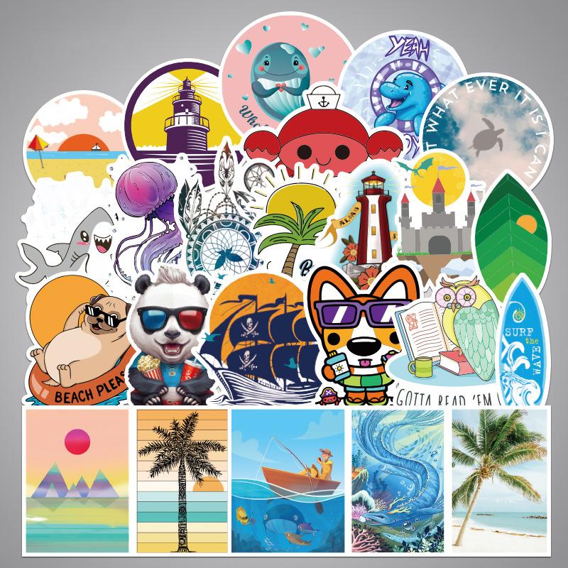 100PCS Cartoon Doughnut Graffiti Dog Beach Waterproof Stickers Decals for Luggage Laptop Water Bottles