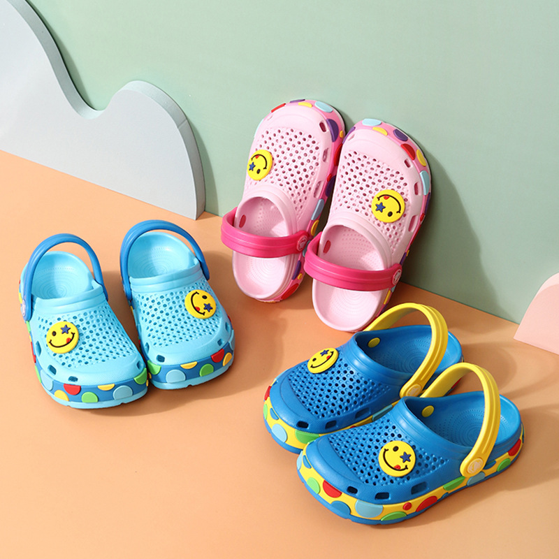 Toddlers Kids Emoji Smile Hole Shoes Flat Beach Summer Slippers Sandal Shoes