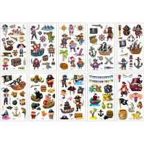 10 Sheets Pirates Vehicles Rockets Monsters Birthday Party Supplies Art Temporary Tattoos for Kids