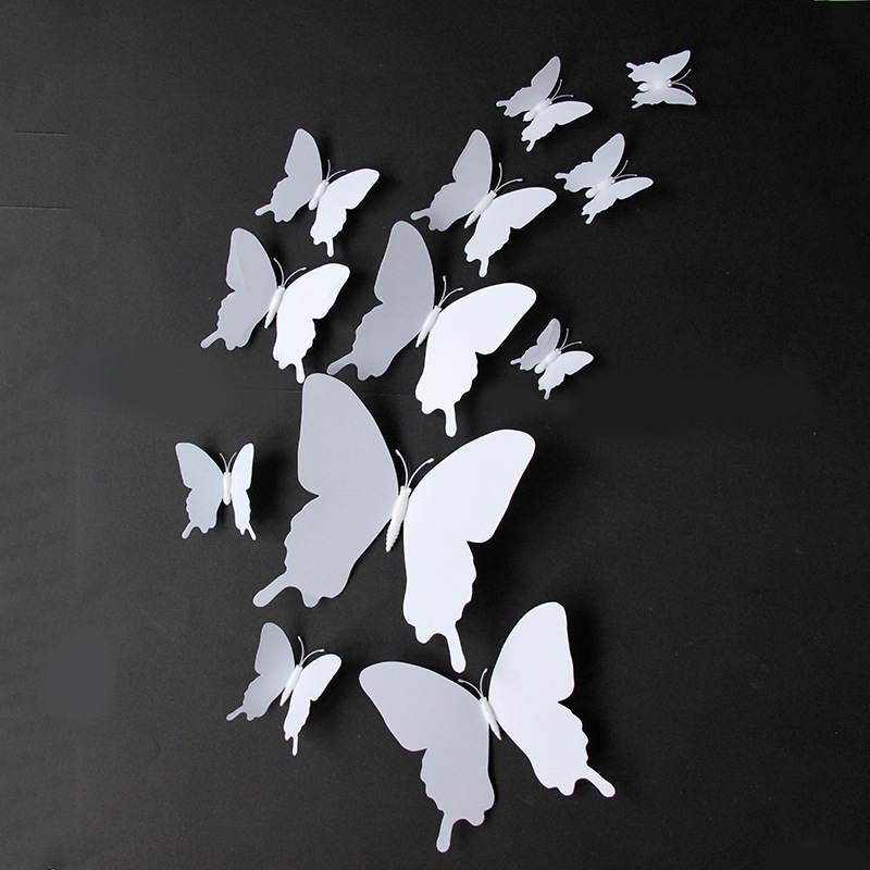 12PCS Pure Color Butterfly Wall Stickers Door Room Magnetic Decorative