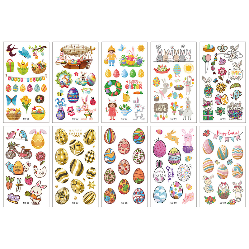 10 Sheets Easterm Christmas Thanksgiving Holidays Day Party Supplies Art Temporary Tattoos for Kids