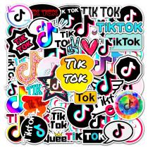 50PCS Tik Tok Logo Waterproof Stickers Decals for Luggage Laptop Water Bottles