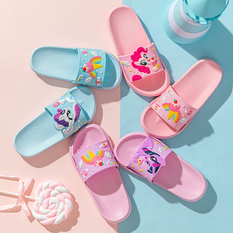 Toddlers Kids Rainbow My Little Pony Flat Beach Summer Slippers