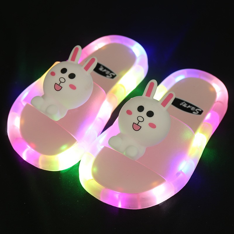 Toddlers Kids Cartoon Luminous Shining Light Rabbit Flat Beach Summer Slippers