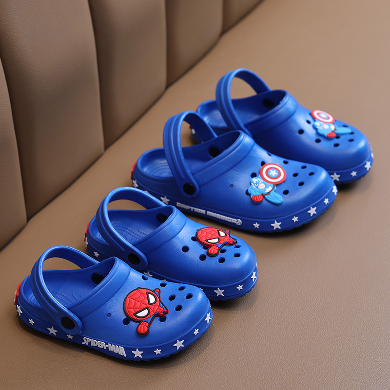 Toddlers Kids Cute Cartoon Spider Man Flat Beach Hole Shoes Summer Slippers