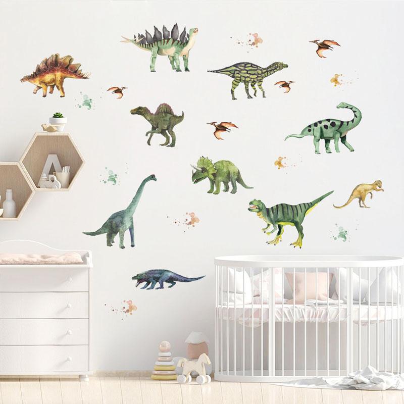 4 Sheets Dinosaur Door Room Waterproof Decorative Wall Stickers