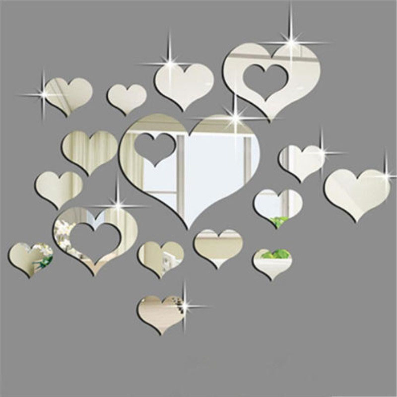 16PCS Geometry Hollow Out Heart-Shaped Door Room Acrylic Decorative Mirror Wall Stickers