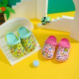 Toddlers Kids Cartoon Dinosaur Swimming Circle Flat Beach Summer Slippers Sandals